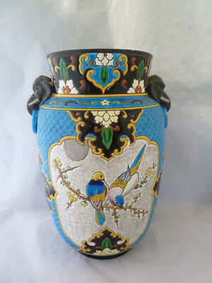 Very Large Aesthetic Period J Vieillard , Bordeaux French Faience Vase c1870-90