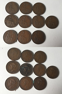 King George VI Pennies - 1937 to 1949 selection