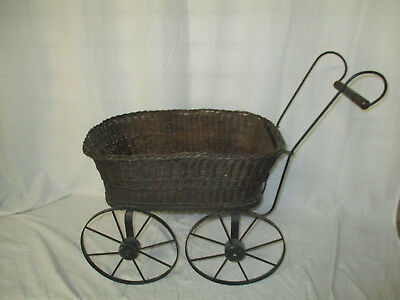 Antique Wicker & Metal Dolls Pram - Restoration/ Display Use?