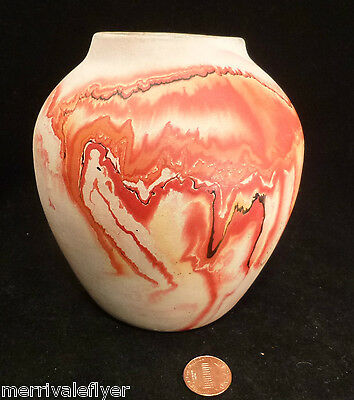 Vintage Nemadji POTTERY VASE Native Minnesota USA MARBLED Mission Swirl art