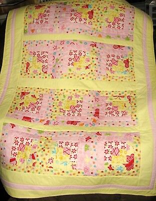 QUILT - GIRL'S LOG CABIN QUILT  - Pink & Yellow -  Handmade
