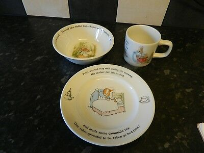 wedgwood china peter rabbit plate , bowl and cup