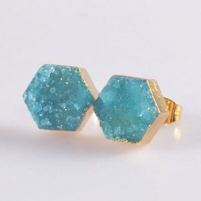 10mm Hexagon Blue Agate Druzy Geode Stud Earrings Gold Plated H103396