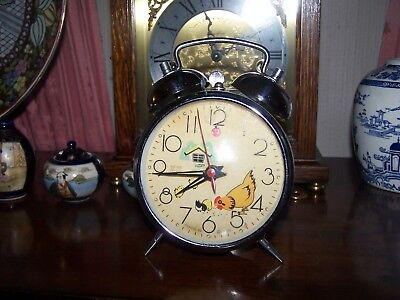Vintage 1960's Retro Vintage Alarm Clock Pecking Chicken By Hero Working Cool