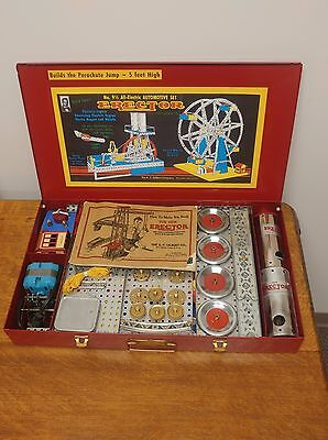 Incredible Vintage A.C. Gilbert Original 1949 Erector Set 9 1/2 Red Complete