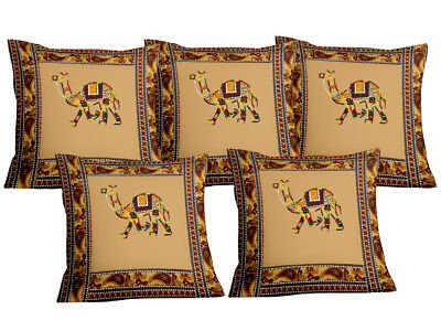 INDIAN 5 PC PILLOW CASE THROW ETHNIC PURE COTTON HAND BLOCK PRINT CUSHION COVERs
