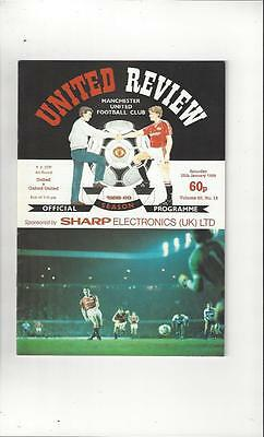 Manchester United v Oxford United FA Cup 1988/89 Football Programme