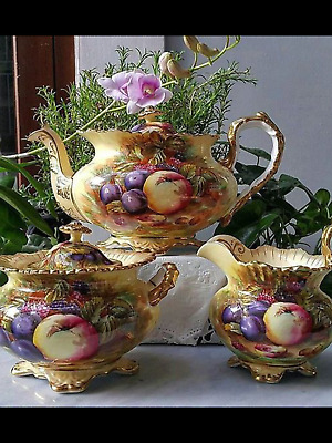EXTREMELY RARE  LARGE  Aynsley Orchard gold  very ornate teapot