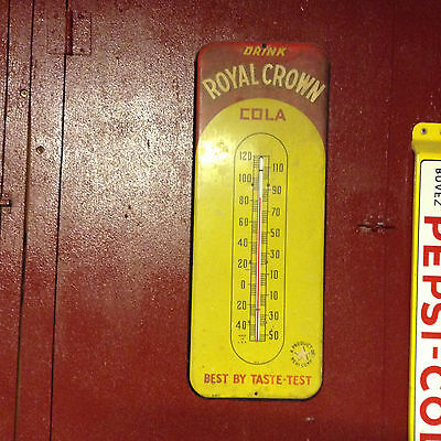"""Vintage Authentic Royal Crown Cola Metal Thermometer About 25 1/2"""" X 10"""""""