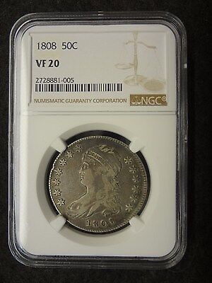 1808 50C Capped Bust Liberty Half Dollar 50 cent NGC VF 20 Very Fine