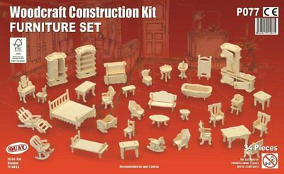 24th Scale Furniture Set 34 Piece, Dolls House Miniatures Room Set 1/24 Scale