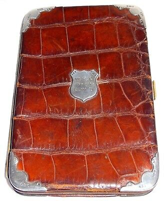 Antique Crocodile Leather Card Case Sterling Silver Hallmarked Corners 1907