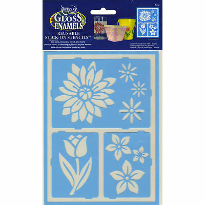 Deco Art AMERICANA GLOSS ENAMELS Re-usable STENCIL Floral Breeze AGS214