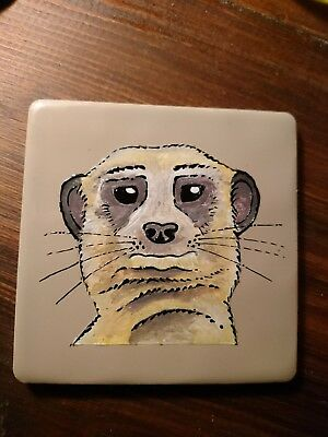 hand painted meerkat tile / coaster 10cm x 10cm -ORDERS WELCOME