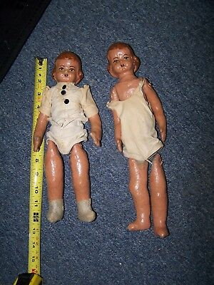 """Two Antique Large 12"""" Cloth Doll Body sawdust filled metal  Head Dolls"""