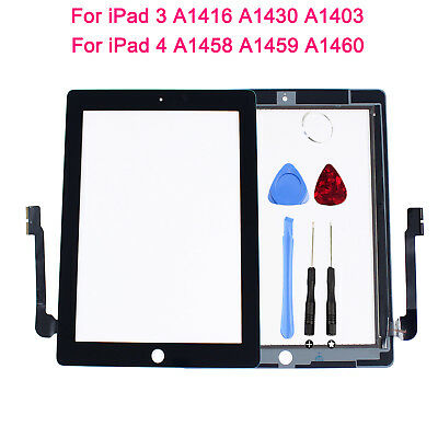 Touch Screen Glass Digitizer Assembly Replacement For iPad 3/4 +Adhesive + Tools