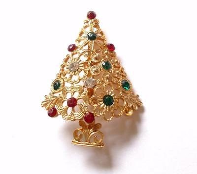Vintage 1970's Gold Tone Red Green Crystal Christmas Tree Brooch