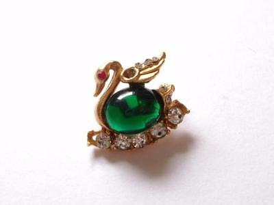 Vintage 1950's Era Green Lucite Jelly Belly Crystal Swan Bird Gold Tone Brooch