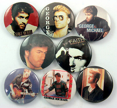 GEORGE MICHAEL Button Badges 8 x Vintage Pin Badges * Pop Music * Wham *