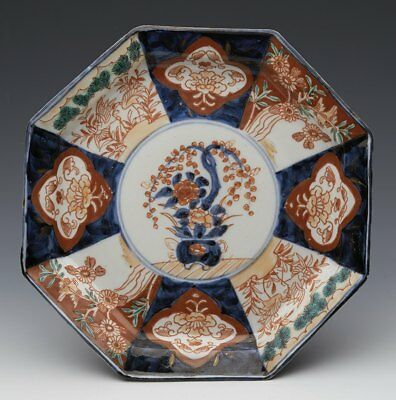 Antique Japanese Imari Octagonal Floral & Bird Panel Plate 19Th C.
