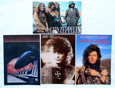 LED ZEPPELIN AND JIMMY PAGE POSTCARDS 4 x Vintage Led Zeppelin Postcards