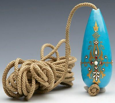 Antique French Sevres Jeweled Bleu Celeste Ground Bell Pull 18/19Th C.