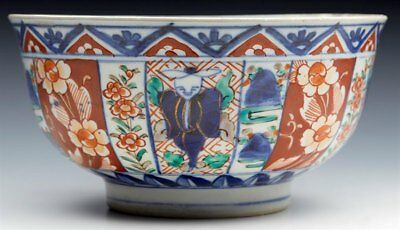 Superb Antique Japanese Meiji Imari Patterned Figural Porcelain Bowl 19Th C.