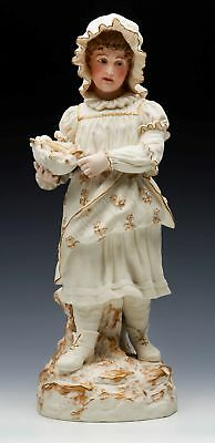 Antique Robinson & Leadbeater Parian Girl Fish Seller Figurine C.1885