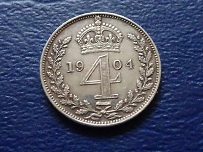 EDWARD VII SILVER MAUNDY FOURPENCE 1904 GROAT 4d GREAT BRITAIN UK