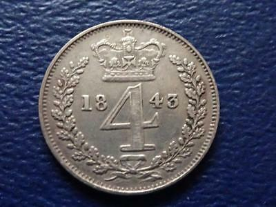 VICTORIA SILVER MAUNDY FOURPENCE 1843 GROAT 4d GREAT BRITAIN UK