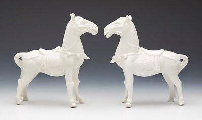 Pair Antique Chinese Blanc De Chine Horse Figures 19/20Th C.