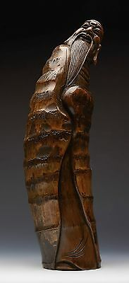 Well Carved Antique Chinese Bamboo Happy Lohan Figure 19Th C.