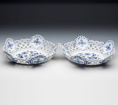Pair Antique Meissen Blue & White Onion Pattern Pierced Baskets 19Th C.
