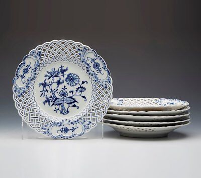 Six Antique Meissen Blue & White Onion Pattern Pierced Plates 19Th C.