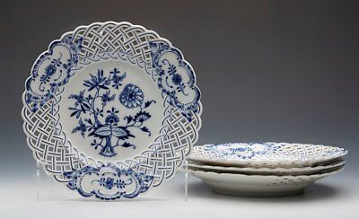 Four Antique Meissen Blue & White Onion Pattern Pierced Plates 19Th C.