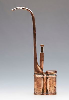 Antique Chinese Qing Copper Water Pipe Signed 19Th C.