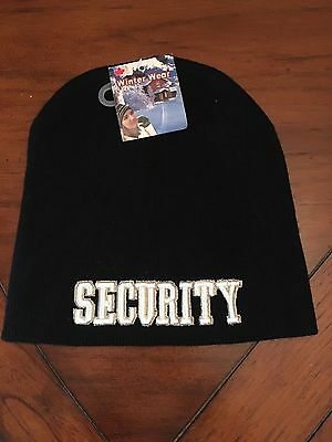 Black Beanie Security Embroidered Hat