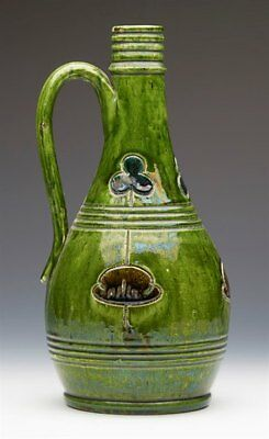 Green Glazed Art Pottery Ewer Probably Belgian C.1890