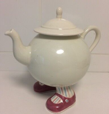 "Vintage 1970s Carlton Lustre Ware Walking Teapot Pink Shoes 7"" tall"