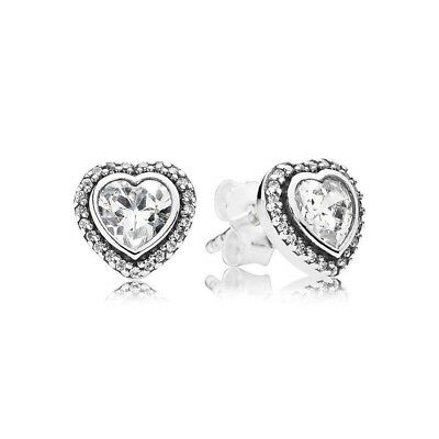 New Authentic Genuine Pandora Sparkling Heart Stud Earrings - 290568CZ