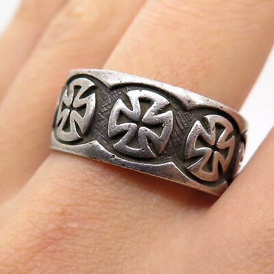 Rare WWII WW2 German 925 Solid Sterling Silver Collectible Mens Band Ring