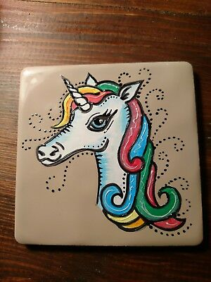 hand painted unicorn tile / coaster 10cm x 10cm -ORDERS WELCOME