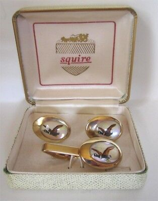 NIB Set of Reverse Intaglio Cameos on MOP VTG Cufflinks Tie Bar Mallard Ducks