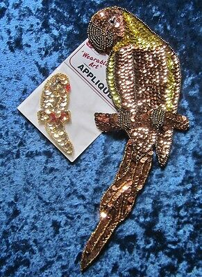 """10"""" Tall Gorgeous Beaded Copper and Gold Parrot Appliqué With Friend"""