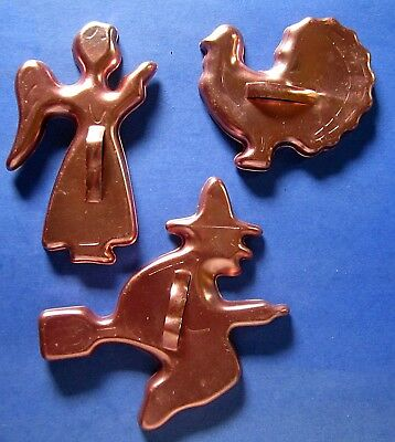 3 Vintage Anodized Aluminum Copper Colored Cookie Cutters Angel Turkey Witch