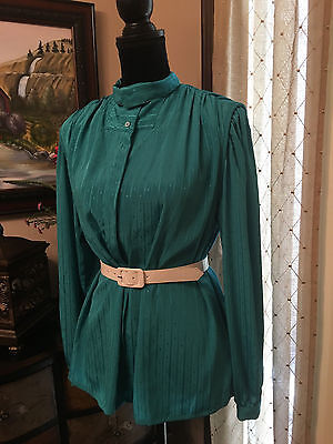 **VINTAGE** JANINE Green Long Sleeve Button Down Blouse - 000008