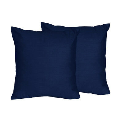 Set Of 2 Navy Decorative Accent Throw Pillow For Sweet Jojo Stripe Collection