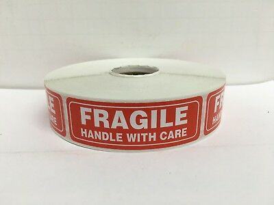 500 Labels 1x3 FRAGILE Handle with Care Special Handling Mailing Stickers