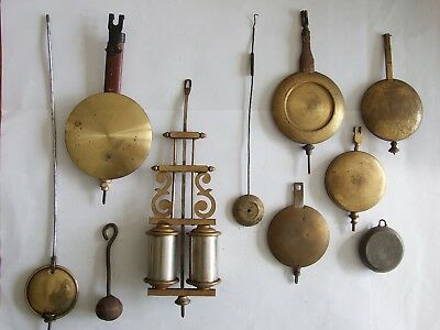 Lot of 10 vintage/antique clock pendulums.  Parts, repairs