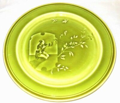 Antique Majolica French Cabinet Plate Oriental Art Nouveau c1910 Choisy Le Roi